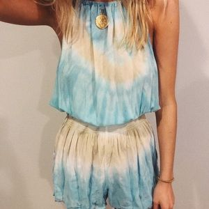 High Neck Flouncy Tie Die Romper